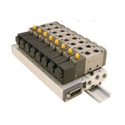 """Pneumatic island G1/4"""" with 6 valves (5/2, G1/8) 24VDC, PIN 15"""