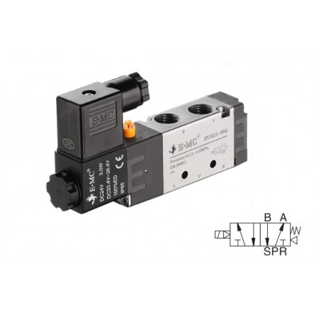 G1/8 valve with electric control 5/2, 18 mm 24 VDC