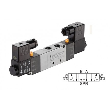 G1/4 valve with electric control 5/3, 22 mm 24 VDC